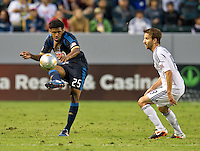 CARSON, CA - July 4, 2012: Philadelphia Union defender Sheanon Williams (25) during the LA Galaxy vs Philadelphia Union match at the Home Depot Center in Carson, California. Final score LA Galaxy 1, Philadelphia Union 2.