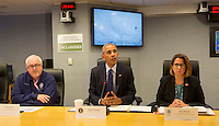 United States President Barack Obama makes a statement after receiving a briefing on Hurricane Matthew at the Federal Emergency Management Agency (FEMA) in Washington DC, October 5, 2016. Seated is FEMA Administrator Craig Fugate (left) and Lisa Monaco, U.S. Homeland Security Advisor to President Obama(right). <br /> Credit: Chris Kleponis / Pool via CNP /MediaPunch