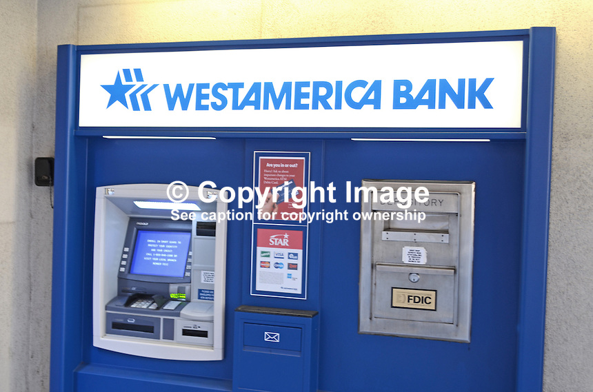 WestAmerica Bank, USA, logo, depository, ATM, 201304151444<br /> <br /> Copyright Image from Victor Patterson, 54 Dorchester Park, Belfast, UK, BT9 6RJ<br /> <br /> Tel: +44 28 9066 1296<br /> Mob: +44 7802 353836<br /> Voicemail +44 20 8816 7153<br /> Skype: victorpattersonbelfast<br /> Email: victorpatterson@me.com<br /> Email: victorpatterson@ireland.com (back-up)<br /> <br /> IMPORTANT: If you wish to use this image or any other of my images please go to www.victorpatterson.com and click on the Terms &amp; Conditions. Then contact me by email or phone with the reference number(s) of the image(s) concerned.