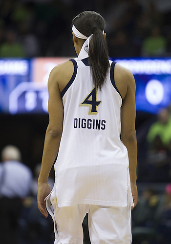 January 26, 2013:  Notre Dame guard Skylar Diggins (4) prior to NCAA Basketball game action between the Notre Dame Fighting Irish and the Providence Friars at Purcell Pavilion at the Joyce Center in South Bend, Indiana.  Notre Dame defeated Providence 89-44.