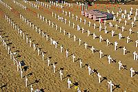 Arlington, West, Memorial, Santa Monica, Beach, Ca, Veterans, Crosses Wood,  Cross, Star of David, crescents , and Flag, draped coffins, Los Angeles CA; Travel; Destination; View; Unique; Quality