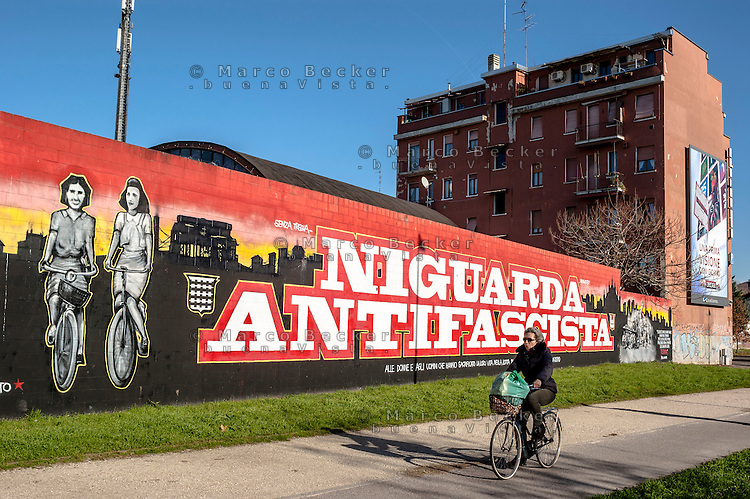 Milano, quartiere Niguarda, periferia nord. Murale antifascista dedicato a due staffette partigiane, Stellina Vecchio e Gina Galeotti Bianchi --- Milan, Niguarda district, north periphery. Antifascist mural dedicated to two partisans dispatch rider,  Stellina Vecchio and Gina Galeotti Bianchi