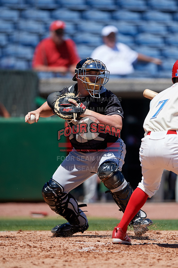 Jupiter Hammerheads catcher Skyler Ewing (44) during a game against the Clearwater Threshers on April 11, 2018 at Spectrum Field in Clearwater, Florida.  Jupiter defeated Clearwater 6-4.  (Mike Janes/Four Seam Images)