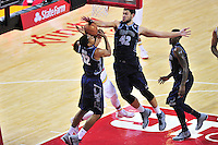 Melo Trimble is smothered by the Hoyas defense. Maryland defeated Georgetown 75-71 during a game at Xfinity Center in College Park, MD on Wednesday, November 17, 2015.  Alan P. Santos/DC Sports Box