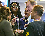 January 26, 2020, Las Vegas Nevada USA: Nevada SEIU 1107  Local Union holds Round Table   with Presidential candidate TOM STEYER in Las Vegas  Nevada.at the new Sarah hotel casino (Credit Image: © Larry Burton/ZUMA Wire) photo: Tome Styer poses with delegates