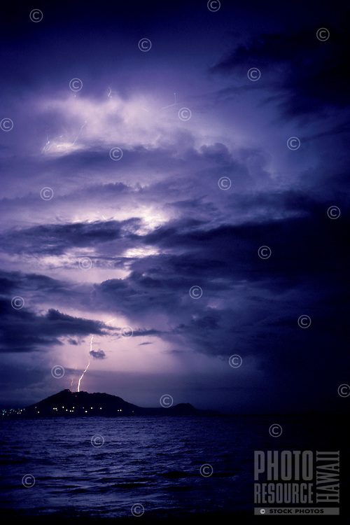 Lightening over Mokapu Marine base near Kailua bay, Oahu
