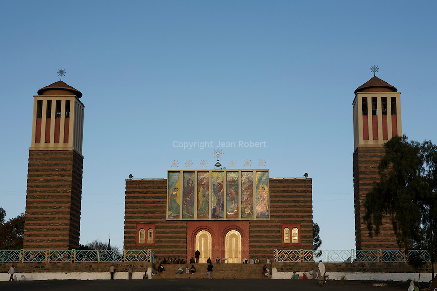 Cathedrale orthodoxe Nda Mariam construite en 1938..Nda Mariam orthodox cathedral, built in 1938