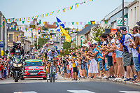 Kevin Ledanois (FRA/Team Fortuneo Samsic) leads the early break away group. <br /> <br /> Stage 1: Noirmoutier-en-l'&Icirc;le &gt; Fontenay-le-Comte (189km)<br /> <br /> Le Grand D&eacute;part 2018<br /> 105th Tour de France 2018<br /> &copy;kramon