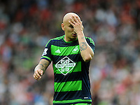 Jonjo Shelvey of Swansea City is dejected during the Barclays Premier League match between Sunderland and Swansea City played at Stadium of Light, Sunderland