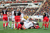 Bath Rugby look to have crossed the Saracens try-line but the grounding is inconclusive. Aviva Premiership match, between Saracens and Bath Rugby on January 30, 2016 at Allianz Park in London, England. Photo by: Patrick Khachfe / Onside Images