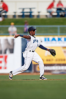 Lake County Captains second baseman Miguel Eladio (30) throws to first base during the first game of a doubleheader against the West Michigan Whitecaps on August 6, 2017 at Classic Park in Eastlake, Ohio.  Lake County defeated West Michigan 4-0.  (Mike Janes/Four Seam Images)