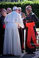 Pope Francis cardinal Peter Kodwo Appiah Turkson.attends the celebration of the Season of Creation with the planting of a tree and a dedication of the Synod for the Amazon to St. Francis, on the occasion of the feast of St. Francis of Assisi. in the Vatican gardens.Vatican City, October 4th, 2019.