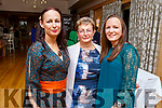 Marie O'Mahoney, Ann Barry and Deirdre Power attending the Daily Diva) and Stuart's Select Style) Autumn/Winter Fashion Fix  show in aid of Recovery Haven Kerry in the Ballygarry House Hotel on Saturday night.