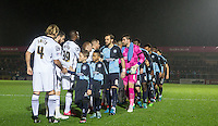 Pre match handshakes during the Sky Bet League 2 match between Wycombe Wanderers and Notts County at Adams Park, High Wycombe, England on 15 December 2015. Photo by Andy Rowland.