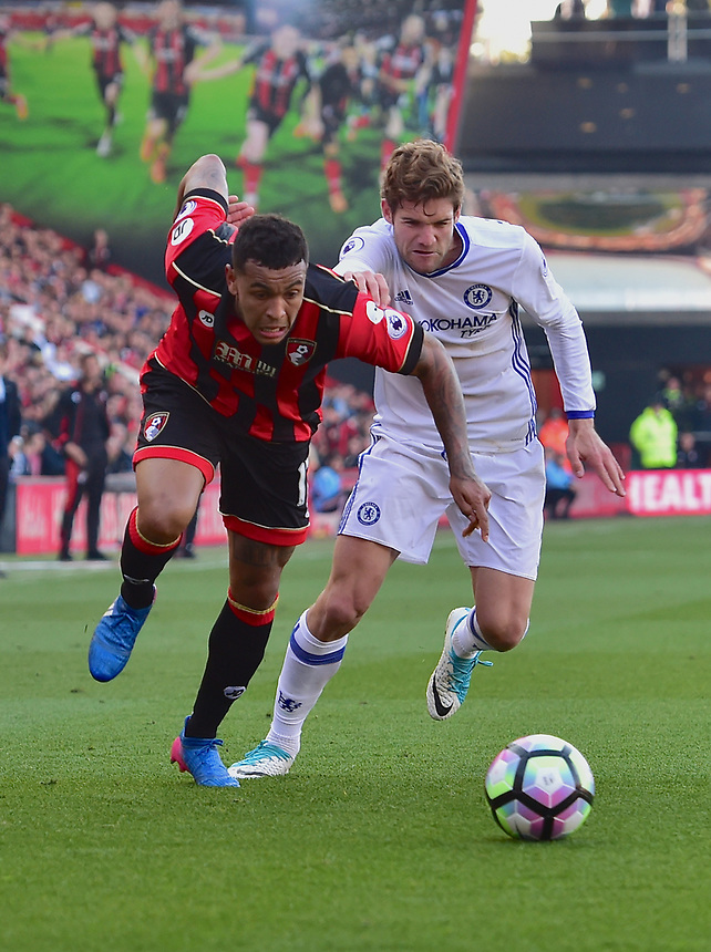 Chelsea's Marcos Alonso (R) battles with Bournemouth's Joshua King (L)<br /> Bournemouth 1 - Chelsea 3<br /> <br /> Photographer David Horton/CameraSport<br /> <br /> The Premier League - Bournemouth v Chelsea - Saturday 8th April 2017 - Vitality Stadium - Bournemouth<br /> <br /> World Copyright &copy; 2017 CameraSport. All rights reserved. 43 Linden Ave. Countesthorpe. Leicester. England. LE8 5PG - Tel: +44 (0) 116 277 4147 - admin@camerasport.com - www.camerasport.com