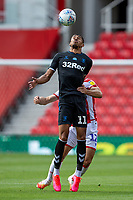 27th June 2020; Bet365 Stadium, Stoke, Staffordshire, England; English Championship Football, Stoke City versus Middlesbrough; Ashley Fletcher of Middlesbrough wins the clearing header