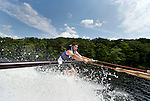Southbury, CT- 17 July 2015-071715CM05- John Diodato holds onto a boom arm as he learns to waterski on Lake Zoar in Southbury on Friday.  Diodato who is visually impaired, was leaning to waterski with the help of Leap of Faith Adaptive Skiers, an organization based out of Newton, CT.    Christopher Massa Republican-American