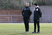 Pictured: (L-R) Manager Michael Flynn with one of his coaches. Thursday 18 January 2018<br /> Re: Players and staff of Newport County Football Club prepare at Newport Stadium, for their FA Cup game against Tottenham Hotspur in Wales, UK