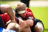 Nic Cudd of the Dragons in action at a scrum. Bath Rugby pre-season training on August 8, 2018 at Farleigh House in Bath, England. Photo by: Patrick Khachfe / Onside Images