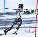 LEAD, SD - JANUARY 31, 2016 -- Juliet Raynovich works through the slalom in the U14 category during the 2016 USSA Northern Division Ski Races at Terry Peak Ski Area near Lead, S.D. Sunday. (Photo by Richard Carlson/dakotapress.org)