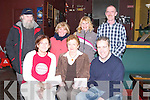 DOUBLE: Timmy Dowd, of Dowdies Sliabh Mish Bar, Tralee, and Ann Collins (organiser) presented cheques for 2,000 and 3,000 to Marion Barnes of Kerry General Hospital on Monday night at Dowdies Sliabh Mish Bar, in aid of the Oncology Unit and the Breast Cancer Unit at Kerry General Hospital. Front l-r: Ann Collins (organiser), Marion Barnes (Kerry General Hospital) and Timmy Dowd. Back l-r: Liam Hutchinson, Catherine Carroll Dempsey, Helen Coffey and James Higgins. The money was raised by Dowdies Sliabh Mish Bar from events such as Mice Racing, Pool, Soccer and a Darts Tournament in 2006..