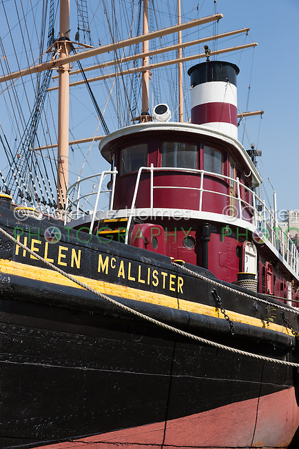 Tugboat Helen McAllister moored at the South Street Seaport Museum in New York City