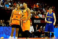 GRONINGEN - Basketbal, Nederland - Roemenie, WK kwalificatie 2019, Martiniplaza, 28-06-2018 worthy de Jong en Arvin Slagter