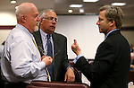 Nevada Assembly Republicans Randy Kirner, left, and Pat Hickey talk with Sen. Greg Brower, R-Reno, before a hearing at the Legislative Building in Carson City, Nev., on Tuesday, May 14, 2013. .Photo by Cathleen Allison