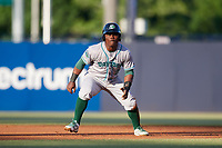 Daytona Tortugas second baseman Dilson Herrera (2) leads off second base during a game against the Tampa Tarpons on April 18, 2018 at George M. Steinbrenner Field in Tampa, Florida.  Tampa defeated Daytona 12-0.  (Mike Janes/Four Seam Images)