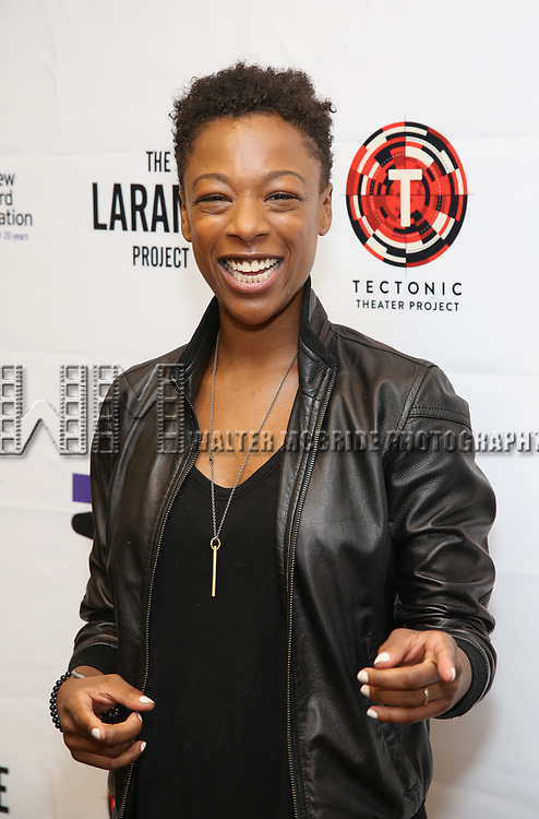 "Samira Wiley attends the cast photo call for ""Laramie: A Legacy""  on September 24, 2018 at The Gerald W. Lynch Theater at John Jay College in New York City."