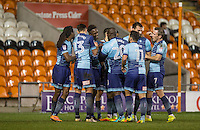 Celebrations as Anthony Stewart of Wycombe Wanderers scores the equalising goal during the The Checkatrade Trophy match between Blackpool and Wycombe Wanderers at Bloomfield Road, Blackpool, England on 10 January 2017. Photo by Andy Rowland / PRiME Media Images.