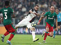 Football Soccer: UEFA Champions League -Group Stage-  Group D - Juventus vs Lokomotiv Moskva, Allianz Stadium. Turin, Italy, October 22, 2019.<br /> Juventus' Gonzalo Higuain (c) in action with Locomotiv Moskva's Bryan Idowu (l) and Benedikt Howedes (r) during the Uefa Champions League football soccer match between Juventus and Lokomotiv Moskva at Allianz Stadium in Turin, on October 22, 2019.<br /> UPDATE IMAGES PRESS