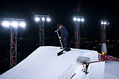 1st December 2017, Moenchengladbach, Germany;  An assistant prepares the ski jump prior to the start of the men's finals of the Big Air Freestyle Skiing World Cup at the SparkassenPark venue in Moenchengladbach, Germany, 1 December 2017.
