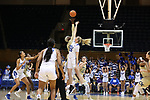 DURHAM, NC - FEBRUARY 01: Duke's Erin Mathias (35) and Georgia Tech's Elo Edeferioka (NGA) challenge for the opening tip-off. The Duke University Blue Devils hosted the Georgia Tech University Yellow Jackets on February 1, 2018 at Cameron Indoor Stadium in Durham, NC in a Division I women's college basketball game. Duke won the game 77-59.