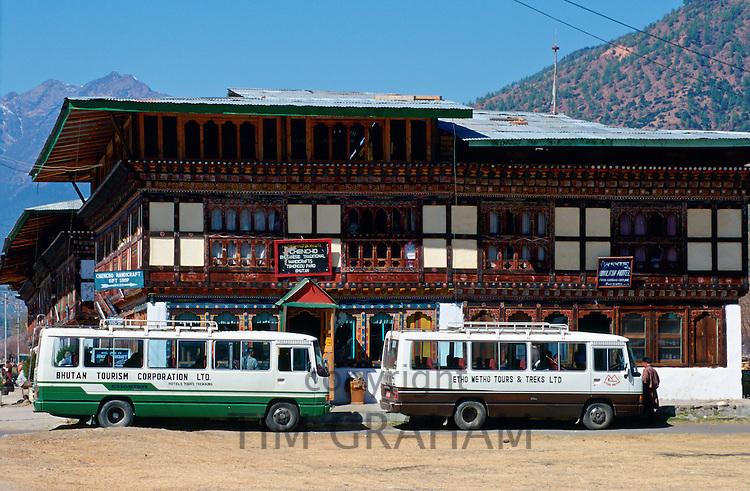 Tour buses, Paro, Bhutan