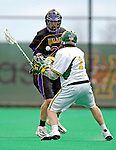 14 April 2007: University of Albany Great Danes' Steve Ammann, a Junior from Putnam Valley, NY, battles University of Vermont Catamount Dan Zwirko, a Senior from Longmeadow, MA, during game action at Moulton Winder Field, in Burlington, Vermont. The Great Danes defeated the Catamounts 14-7...Mandatory Photo Credit: Ed Wolfstein Photo