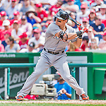 30 August 2015: Miami Marlins outfielder Derek Dietrich leads off the 4th inning against the Washington Nationals at Nationals Park in Washington, DC. The Nationals rallied to defeat the Marlins 7-4 in the third game of their 3-game weekend series. Mandatory Credit: Ed Wolfstein Photo *** RAW (NEF) Image File Available ***