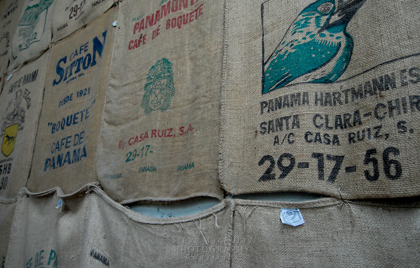 Burlap bags of coffee beans, Cafe Ruiz, Coffee Plantation and Finca, Boquete, Panama