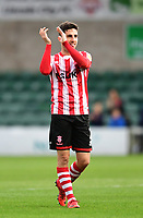 Lincoln City's Tom Pett applauds the fans at the final whistle<br /> <br /> Photographer Chris Vaughan/CameraSport<br /> <br /> The EFL Sky Bet League Two - Lincoln City v Crewe Alexandra - Saturday 6th October 2018 - Sincil Bank - Lincoln<br /> <br /> World Copyright &copy; 2018 CameraSport. All rights reserved. 43 Linden Ave. Countesthorpe. Leicester. England. LE8 5PG - Tel: +44 (0) 116 277 4147 - admin@camerasport.com - www.camerasport.com