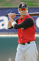 August 25, 2009: Infielder Lee Fischer (9) of the Kannapolis Intimidators, South Atlantic League affiliate of the Chicago White Sox, in a game at Fluor Field at the West End in Greenville, S.C. Photo by: Tom Priddy/Four Seam Images