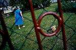 Novy Tomysl. Elsa Fleischer crosses the lawn on the property her parents had lived on until 1944.