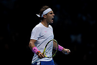 15th November 2019; 02 Arena. London, England; Nitto ATP Tennis Finals; Rafael Nadal (Spain) celebrates as he wins the second set against Stefanos Tsitsipas (Greece) - Editorial Use