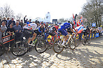 Greg Van Avermaet (BEL) BMC Racing, Tom Boonen (BEL) Quick-Step Floors and Edvald Boasson Hagen (NOR) Dimension Data tackle the famous cobbled climb of Kemmelberg during Gent-Wevelgem in Flanders Fields 2017 running 249km from Denieze to Wevelgem, Flanders, Belgium. 26th March 2017.<br /> Picture: Eoin Clarke | Cyclefile<br /> <br /> <br /> All photos usage must carry mandatory copyright credit (&copy; Cyclefile | Eoin Clarke)