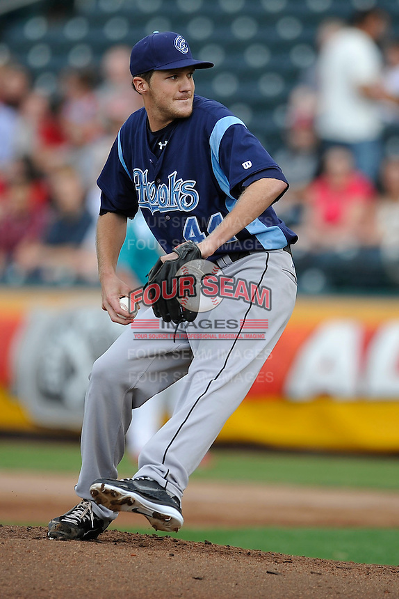 Paul Clemens (44) delivers a pitch against the Springfield Cardinals at Hammons Field on August 19, 2012 in Springfield, Missouri.(Dennis Hubbard/Four Seam Images)