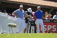 Lee Westwood (ENG) and Brett Rumford (AUS) on the 1st tee during Round 2 of the ISPS Handa World Super 6 Perth at Lake Karrinyup Country Club on the Friday 9th February 2018.<br /> Picture:  Thos Caffrey / www.golffile.ie<br /> <br /> All photo usage must carry mandatory copyright credit (&copy; Golffile | Thos Caffrey)