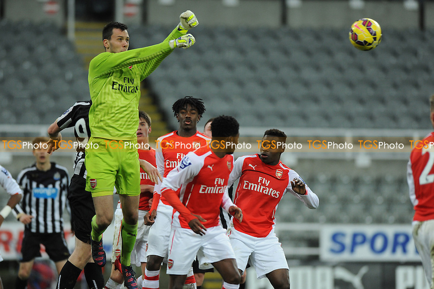 Arsenal goalkeeper Dejan Iliev punches clear - Newcastle United Under-21 vs Arsenal Under-21 - Barclays Under-21 Premier League Football at St James Park, Newcastle United FC - 09/02/15 - MANDATORY CREDIT: Steven White/TGSPHOTO - Self billing applies where appropriate - contact@tgsphoto.co.uk - NO UNPAID USE