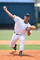 GCL Tigers pitcher Josh Laxer (44) delivers a pitch during a game against the GCL Blue Jays on June 30, 2014 at Tigertown in Lakeland, Florida.  GCL Blue Jays defeated the GCL Tigers 3-1.  (Mike Janes/Four Seam Images)