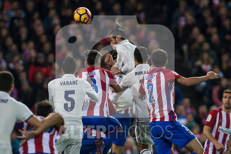 Real Madrid's Garet Bale Raphael Varane Atletico de Madrid's Tiago Mendes Diego Godin  during the match of La Liga between Atletico de Madrid and Real Madrid at Vicente Calderon Stadium  in Madrid , Spain. November 19, 2016. (ALTERPHOTOS/Rodrigo Jimenez)