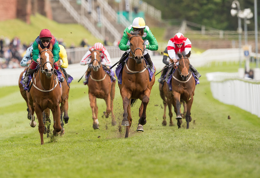 16:20 Chester T&amp;L Leasing EBF Stallions Maiden Stakes (Plus 10)<br /> Young John (IRE) Trainer R A Fahey<br /> Jockey P Hanagan<br /> <br /> Horse Racing - Boodles Ladies Day - Thursday 7th May 2015 - Chester Racecourse - Chester<br /> <br /> Photographer Terry Donnelly/CameraSport<br /> <br /> &copy; CameraSport - 43 Linden Ave. Countesthorpe. Leicester. England. LE8 5PG - Tel: +44 (0) 116 277 4147 - admin@camerasport.com - www.camerasport.com