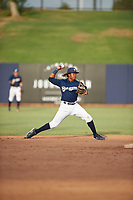 AZL Brewers Blue second baseman Orveo Saint (30) throws to first base during an Arizona League game against the AZL Rangers on July 11, 2019 at American Family Fields of Phoenix in Phoenix, Arizona. The AZL Rangers defeated the AZL Brewers Blue 5-2. (Zachary Lucy/Four Seam Images)